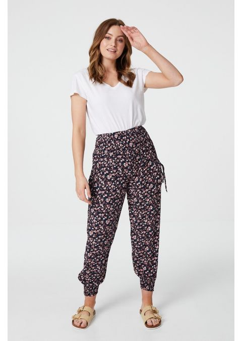 DITSY FLORAL HAREM PANTS WITH POCKETS IN NAVY