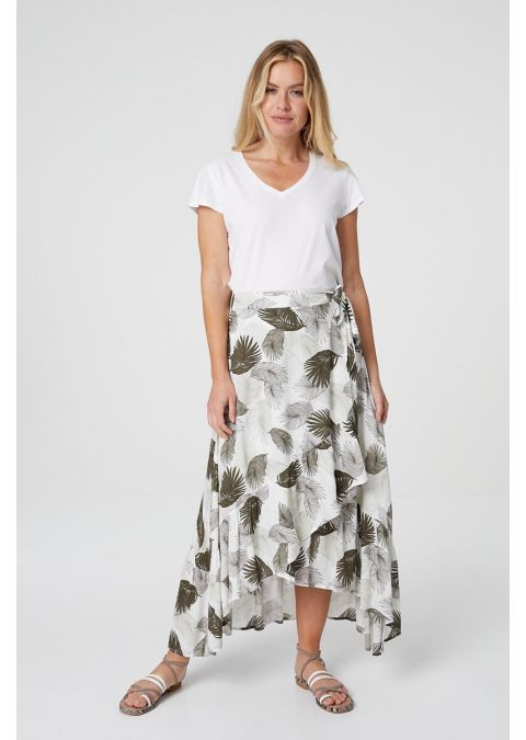 TROPICAL PRINT WRAP FRONT MIDI SKIRT IN GREEN
