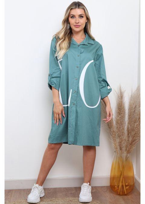 GREEN OVERSIZED PRINTED LOVE SHIRT DRESS