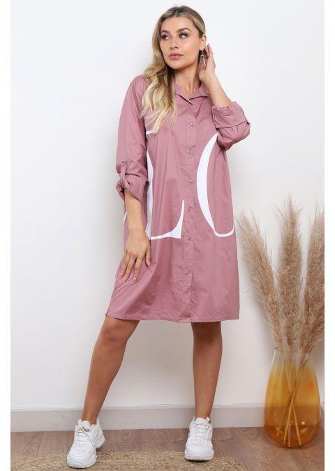 ROSE OVERSIZED PRINTED LOVE SHIRT DRESS