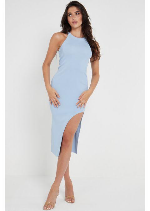 RIB-KNIT SPLIT THIGH BODYCON DRESS IN BLUE