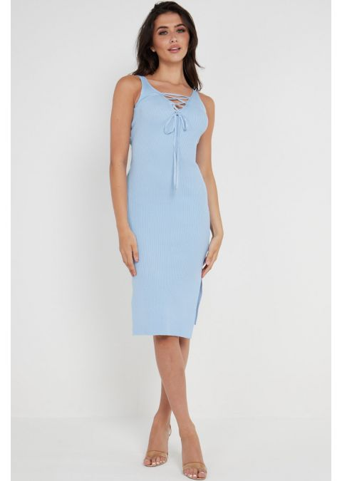 RIBBED SHOELACE TIE UP SLIT DRESS IN BLUE
