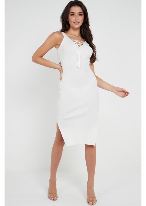 RIBBED SHOELACE TIE UP SLIT DRESS IN WHITE