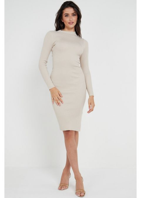 RIBBED TIE UP SLIT DRESS IN APRICOT