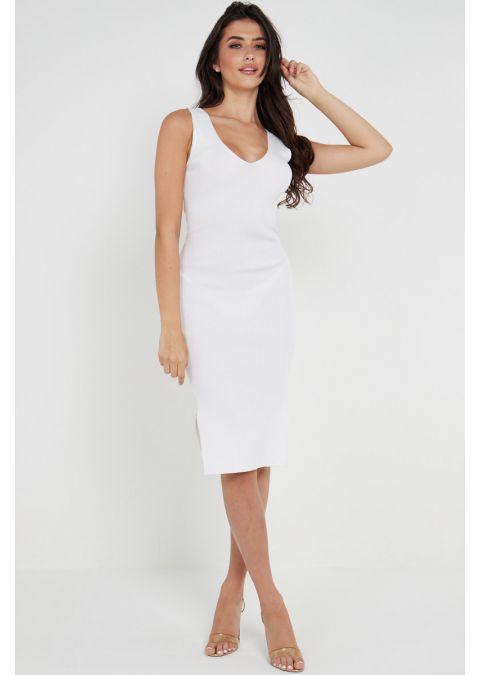 V NECK TIE UP RIBBED SLIT DRESS IN WHITE