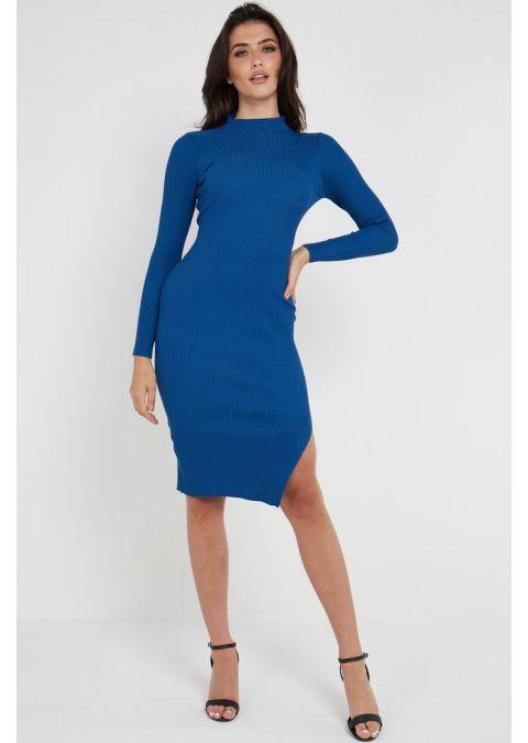 RIBBED TIE UP SLIT DRESS IN ROYAL BLUE