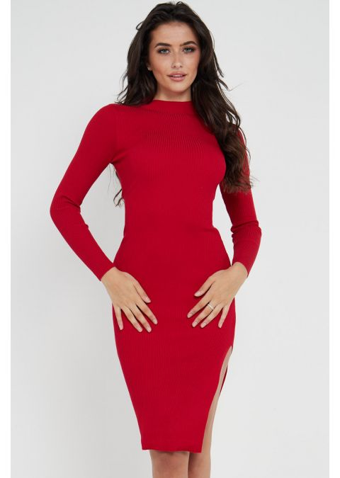 RIBBED TIE UP SLIT DRESS IN RED