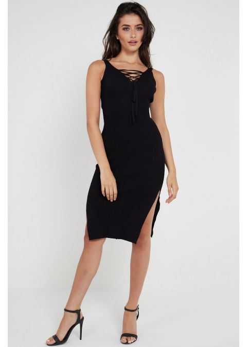 RIBBED SHOELACE TIE UP SLIT DRESS IN BLACK