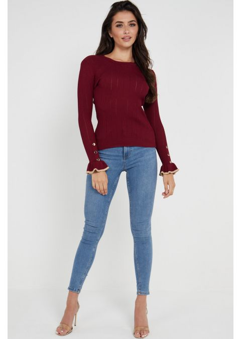 GOLD BUTTONS FRILL CUFFS RIB KNOT TOP IN BURGUNDY