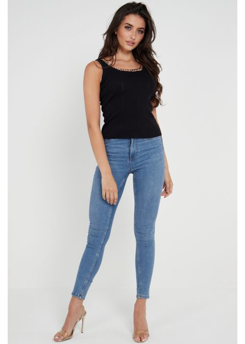 CHAIN DETAILS RIB-KNIT TOP IN BLACK