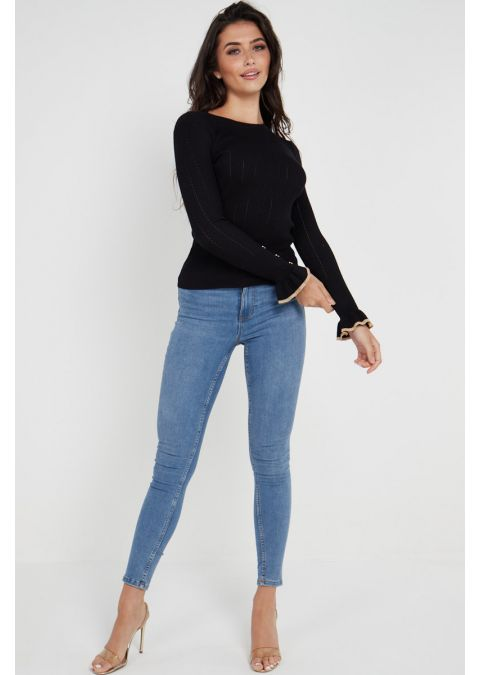 GOLD BUTTONS FRILL CUFFS RIB KNIT TOP IN BLACK