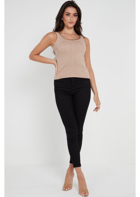CHAIN DETAILS RIB-KNIT TOP IN CAMEL