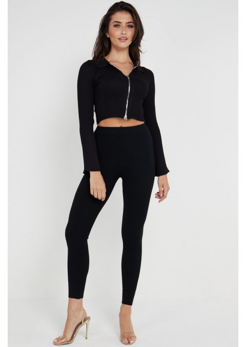 DOUBLE ZIPPED KNITTED CROP TOP SET IN BLACK