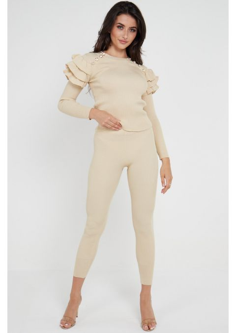 GOLD BUTTON FRILL SHOULDERS CO-ORD SET IN BEIGE