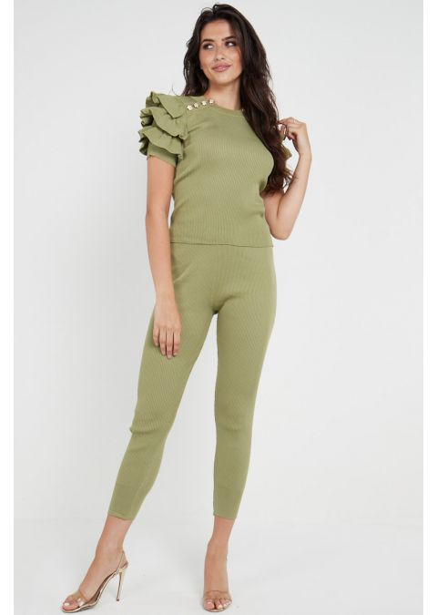 GOLD BUTTON FRILL SHOULDERS RIB SET IN GREEN